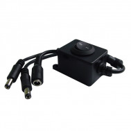 ON/OFF Compact Power Supply 1 by 2 In Line Switch. Provides inline 12Vdc switching to 2 Outputs.