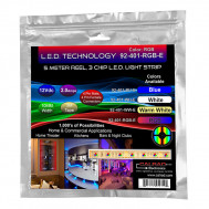 RGB 5 M. Reel, 3-Chip L.E.D. Light Strip with 4 pin Male to Female connectors