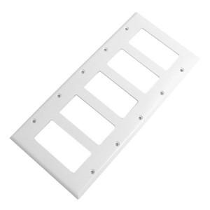 Six Gang White Plastic Wall Plate