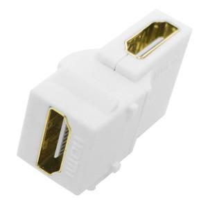 White Right Angle HDMI Feed Thru Keystone Insert