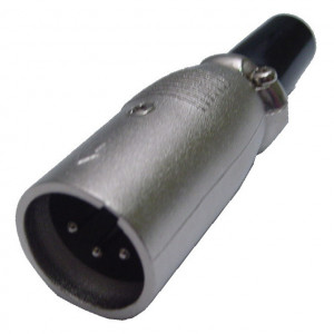 4 Pin Inline XLR Male Plug with Silver Housing