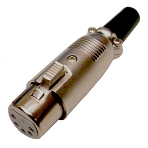 5 Pin Inline XLR Female Jack with Silver Housing
