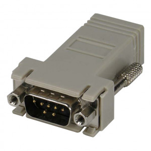 Female DB-9 to RJ45 Jack, Black Metal Hood