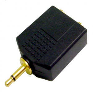 """Gold Plated """"Y"""" Adapter, 3.5mm Mono Plug to Two 1/4"""" Mono Jacks"""