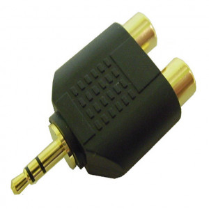 """Gold Plated """"Y"""" Adapter, 3.5mm Stereo Plug to Two RCA Jacks"""