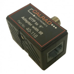 QAM Bi-Directional RF 'T' Adapter, UTP 2 x Female RJ45 Jacks to 1 x 'F' Male with 3.5mm IR Jack