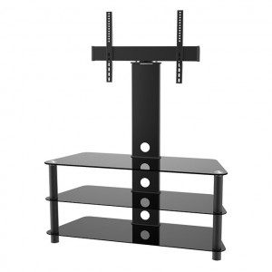 """Elegant Stand with TV Mount & 3 Glass Shelves, Fits 37""""-65"""""""