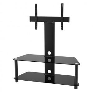 """Elegant Stand with TV Mount & 2 Glass Shelves, Fits 37""""-65"""""""