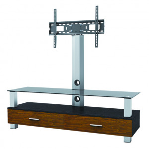 """Elegant Stand with TV Mount & 1 Wood, 1 Glass Shelve, Fits 37""""-65"""""""