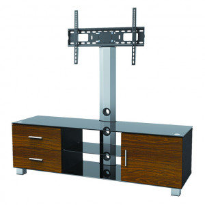 """Elegant Stand with TV Mount, Wood Drawers, Cabinet & 3 Glass Shelves, Fits 37""""-65"""""""