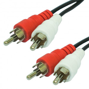2 RCA Male Plugs to 2 RCA Male Plugs Stereo Shielded Audio Cable, 100 Ft. Long