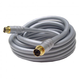 SVHS Male to SVHS Male High Quality Silver Cable with Gold Plugs, 8mm 12 Ft. Long