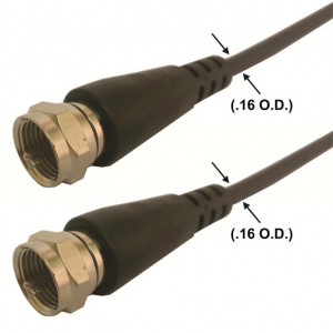 "QAM 3 ft. 'F' Male to 'F' Male Miniature (.16"" O.D.) RF Coax Cable"