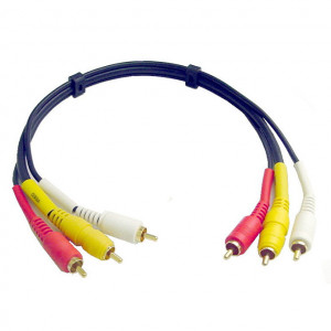 Audio Video Interface Molded Dubbing Cable, Gold Plated 3 Ft. Long