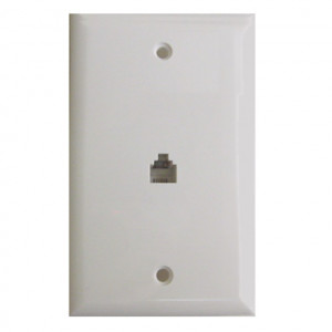 Brown Flush Mount Single 4 Wire Jack Modular Wall Plate