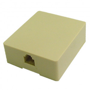 White Surface Jack Assembly, STD 6 Wire