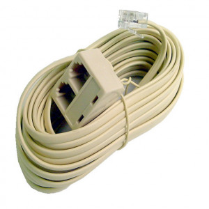 Ivory Dual Modular 4 Wire Extension Cord, 25 Ft. Long