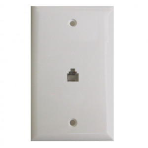 White Smooth Flush Mount Single 8 Wire Jack Modular Wall Plate