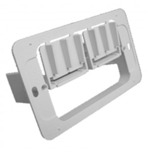 White Single Gang Plastic Flush Mount Wall Bracket with Adjustable Locking Tabs