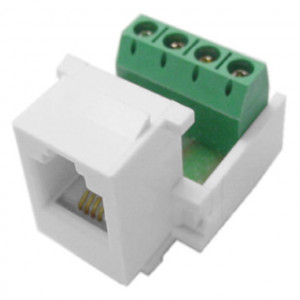 72-100-T, White 4 Position Keystone Jack to Screw Terminals