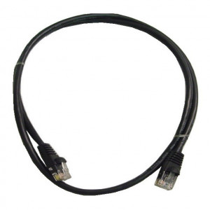 Black RJ45 Snagless Cable - 350 MHz CAT 5e, 1 Ft. Long