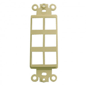 6 Port Cavity, Ivory Designer Style Keystone Wall Plate Insert