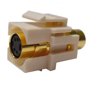 SVHS Feed-Thru Red Recessed Keystone Insert, Gold Plated