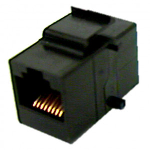 Black CAT 5e RJ45 Feed-Thru Keystone Insert
