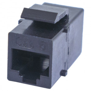 Black CAT 6 RJ45 Feed-Thru Keystone Insert