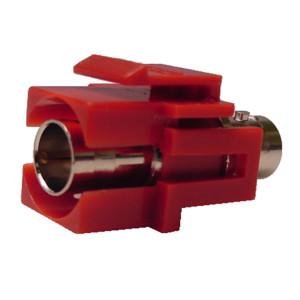 75 Ohm BNC Feed-Thru Red Recessed Keystone Insert, Nickel Plated