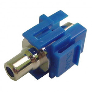 RCA Feed-Thru Recessed Keystone with Blue Insert, Nickel Plated