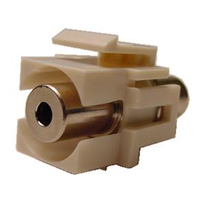 3.5mm Stereo Feed-Thru Black Recessed Keystone Insert, Nickel Plated