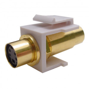 SVHS Female to Female Feed-Thru Keystone Insert, Gold Plated