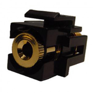 Isolated Banana Feed-Thru Black Recessed Keystone Insert, Gold Plated