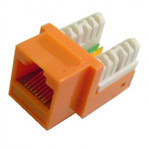 Red RJ45 90 Degree Keystone Jack, CAT 6