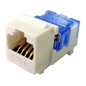 White RJ45 Tool-Less Keystone Jack, CAT 6