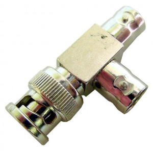 """1 BNC Male to 2 BNC Females, """"T"""" Style Adapter"""
