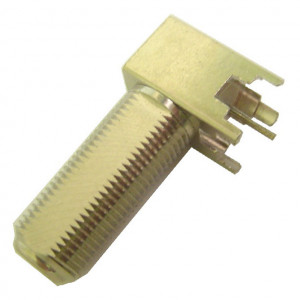 "Right Angle PC Mount ""F"" Connector with Long Shaft"