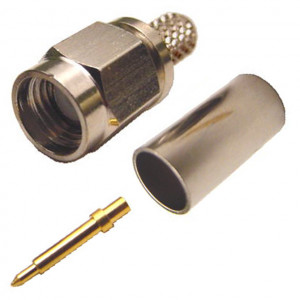SMA Male Crimp-On Connector for RG-59/62 with Gold Plated Contacts