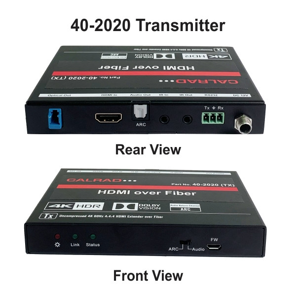 Transmitter (Front & rear View) HDMI over a Single (Single or Multi Mode) LC Fiber Cable (1,000 ft.), 4K x 2K \ 60hz (4:4:4) Balun