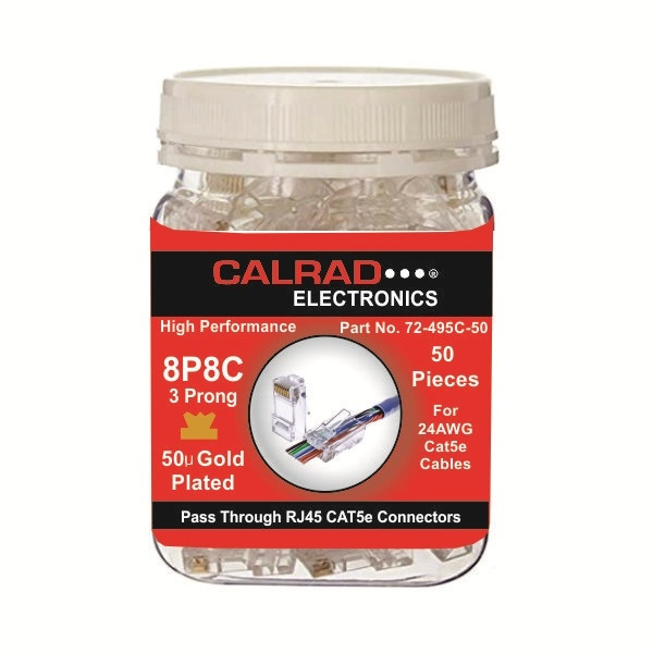 72-495C-50, Clear Plastic Container with Pass Through RJ45 Cat5e Connectors